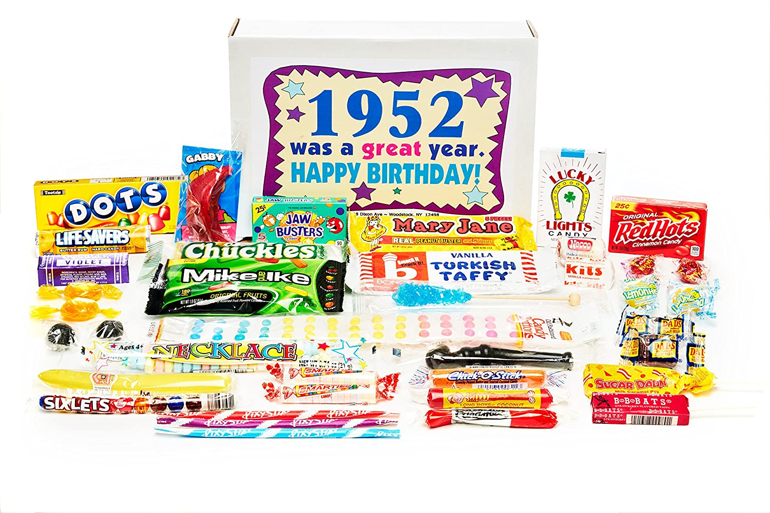 Woodstock Candy ~ 1952 67th Birthday Gift Box Nostalgic Retro Candy Mix  from Childhood for 67
