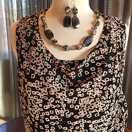 Amazon.com  Custom Couture Small brown and pale pink sleeveless blouse with  matching earrings and necklace  Handmade