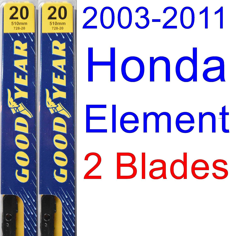 Amazon.com: 2003-2011 Honda Element Replacement Wiper Blade Set/Kit (Set of 3 Blades) (Goodyear Wiper Blades-Premium) (2004,2005,2006,2007,2008,2009,2010): ...
