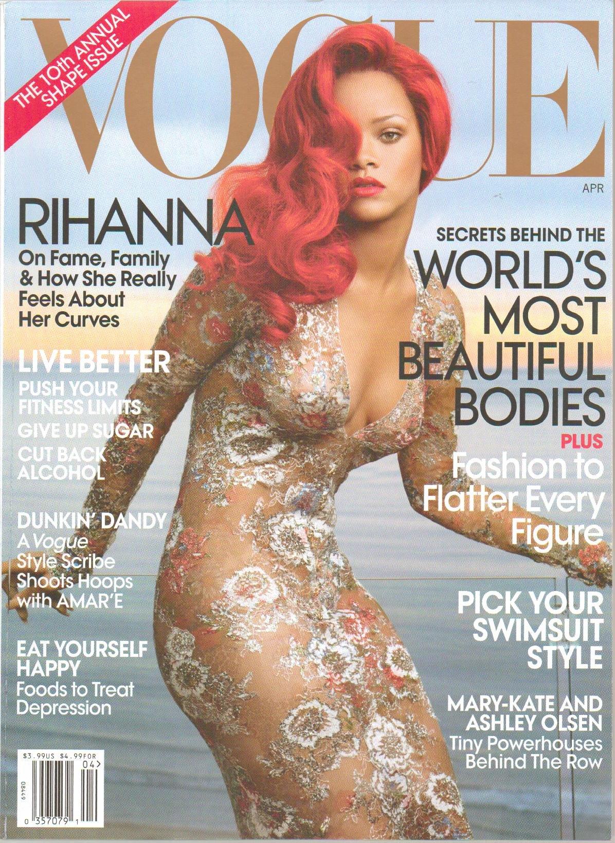 Vogue Magazine, April 2011 - 10th Annual Shape Issue, Rihanna on Fame Family - Secrets Behine the World's Most Beautiful Bodies, Mary-kate and Ashley Olsen Tiny Powerhouses Behine the Row pdf epub