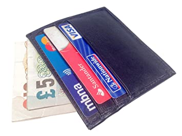 Real Leather Credit Card Slip Sleeve Holder Thin Slim Wallet Business ID Pocket