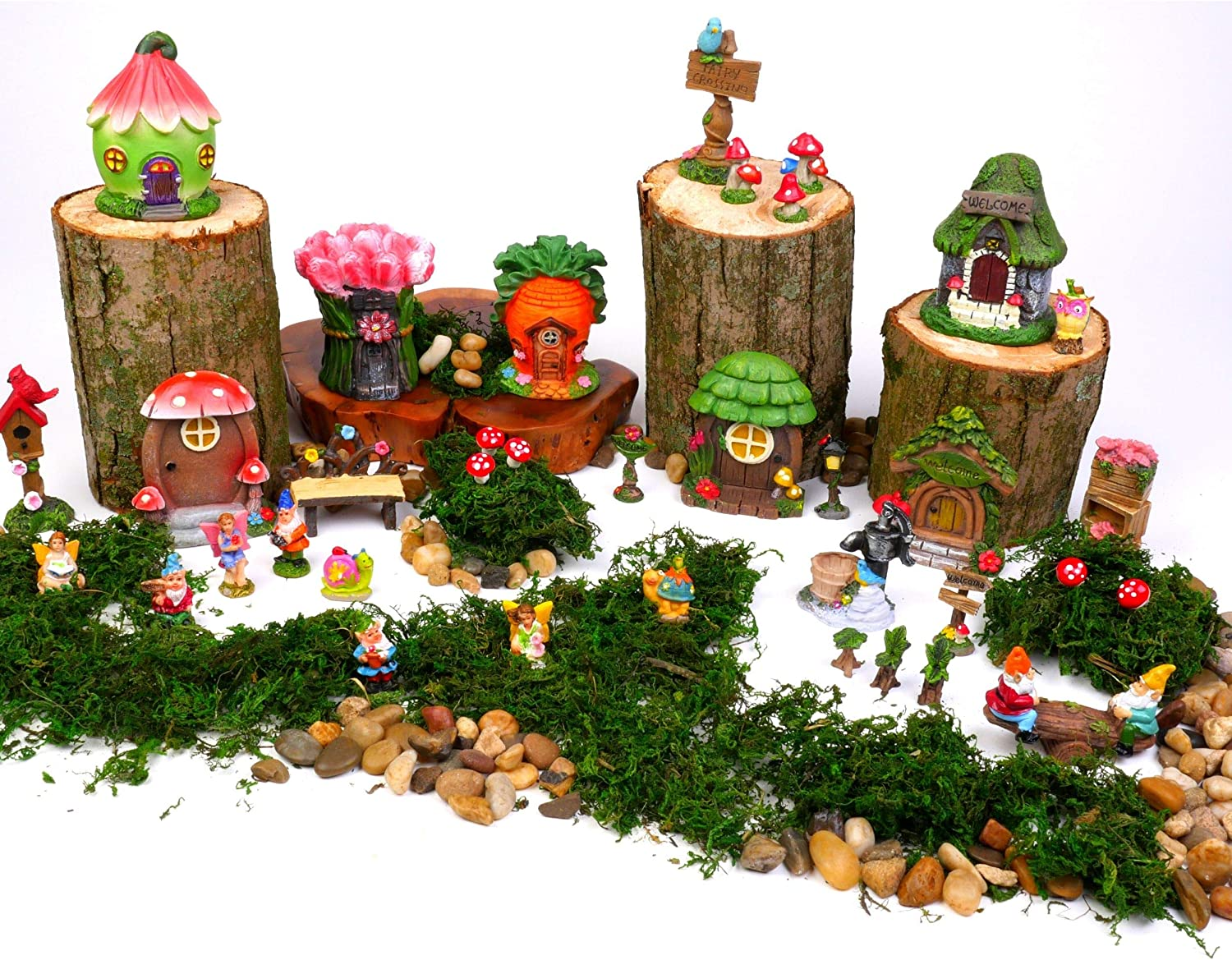 Mini Fairy Gardens Kit for Kids. Accessories & Supplies Are Moss, Houses, Fairies, Gnomes, Animals, Table & Chairs plus much more! Fun for Girls, Boys, Adults. 37 pc set Miniatures for indoor outdoor