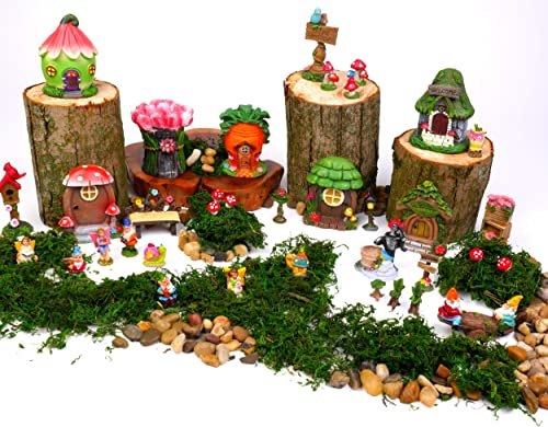Mini Fairy Gardens Kit for Kids. Accessories Supplies Are Moss, Houses, Fairies, Gnomes, Animals, Table Chairs plus much more Fun for Girls, Boys, Adults. 37 pc set Miniatures for indoor outdoor