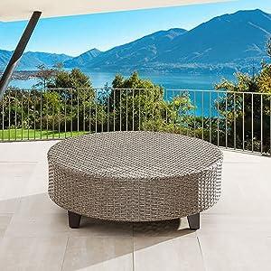 LOKATSE HOME Outdoor Rattan Furniture Patio Wicker Round Side Coffee Table, Brown