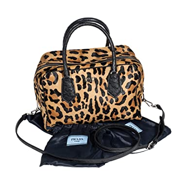 2b50fbc2416c Amazon.com: Prada Calf Hair & Ostrich Medium Inside Bag, Leopard/Red ...