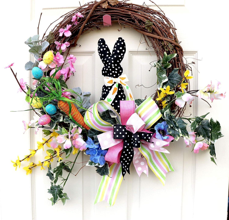 Easter wreath bunny wreath Easter bunny wreath spring decor spring wreath Easter decor bunny ears front door wreath