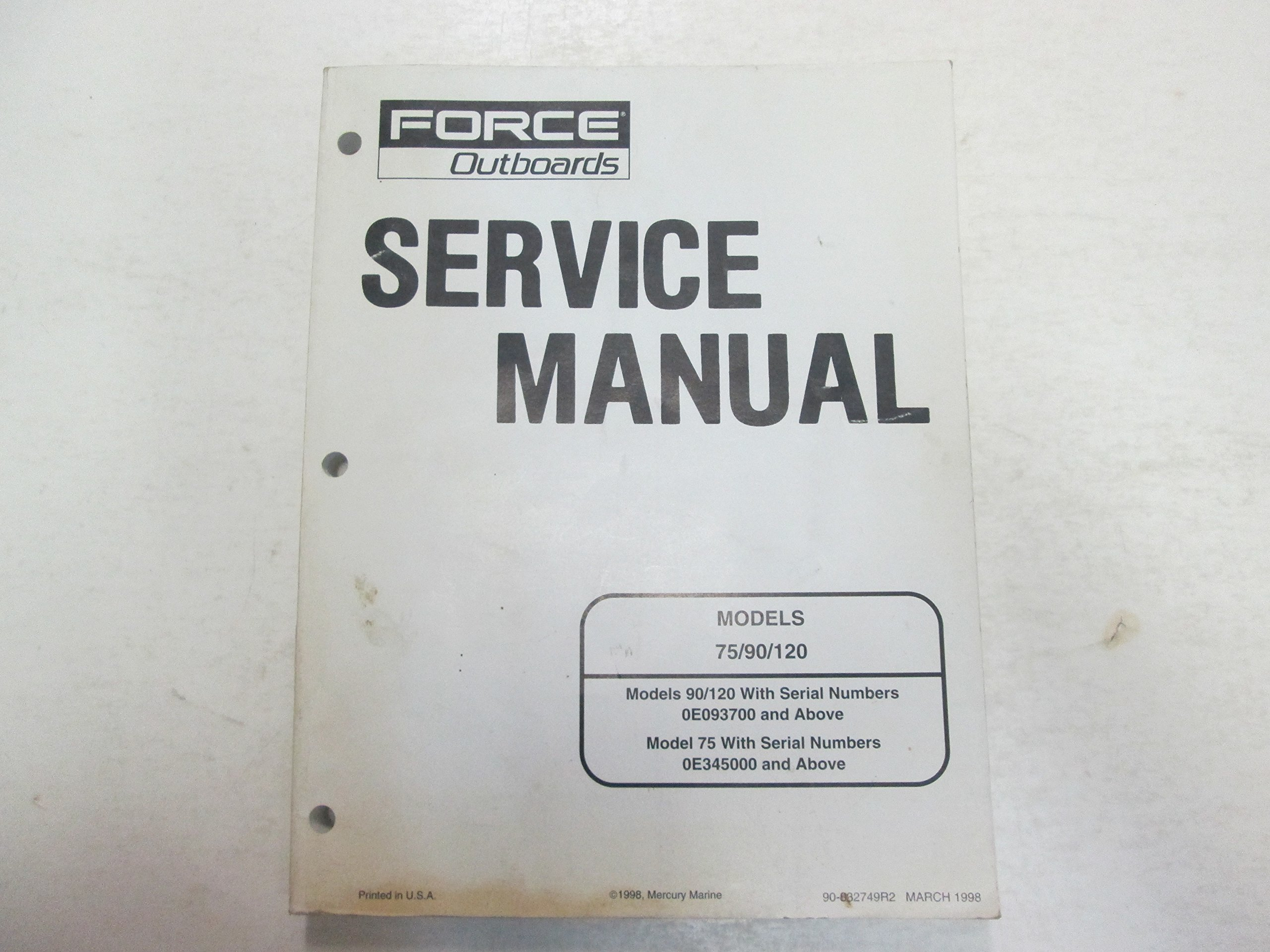 1998 force outboards models 75 90 120 service repair shop manual rh amazon com Mercury Force 120 Parts force 120 outboard service manual pdf