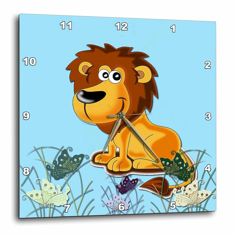 Kids Decor 3dRose 3D Rose Cute Lion DPP/_218424/_2 -Wall Clock Cool Image 13-inch Blue