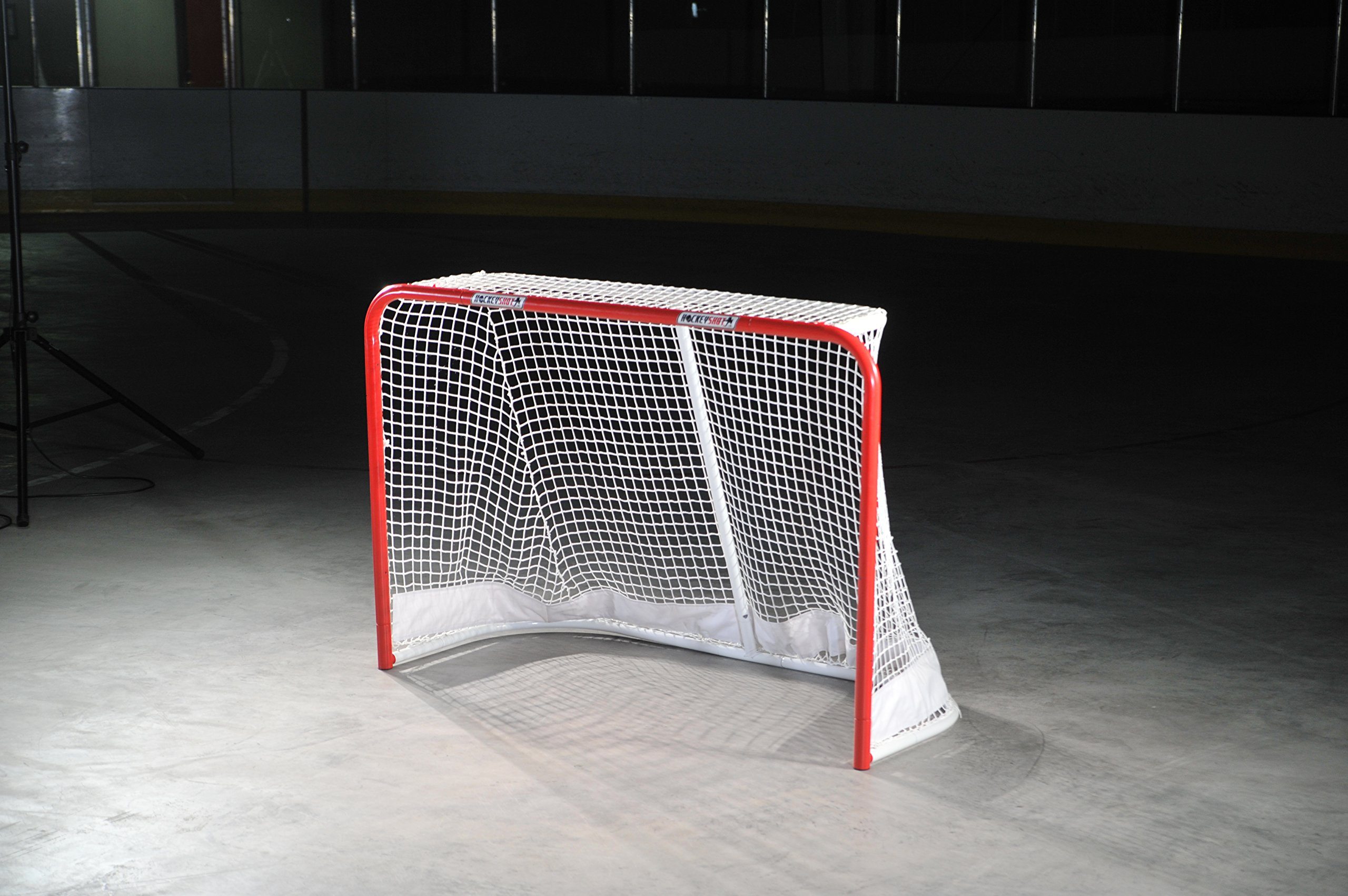 HOCKEYSHOT Goal Red Posts White Net Full Size Hockey Training Aids by HockeyShot