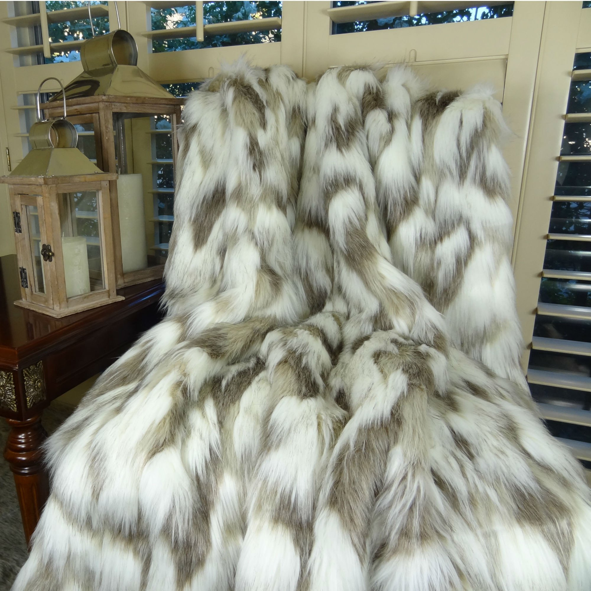 Thomas Collection designer throw blanket, super soft faux fur throw blanket, Ivory Faux Fur Luxury Throw Blanket Bedspread, Tibet Fox Fur Ivory Beige Designer Faux Fur, Made in America, 16445 by Thomas Collection