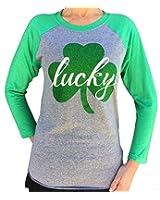 SoRock Women's St. Patrick's Day Glitter Lucky Shamrock 3/4 Sleeve (Runs a size big)