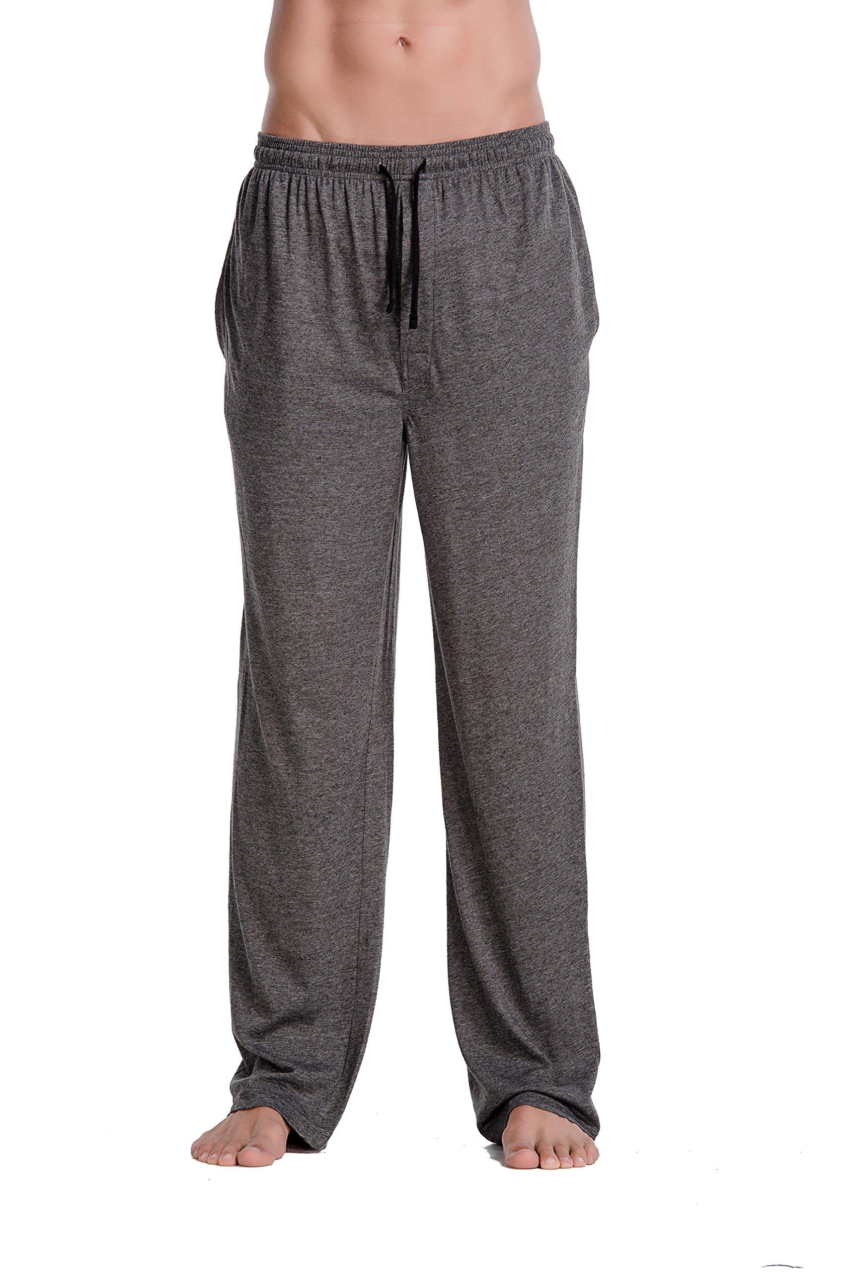 CYZ Men's Cotton Jersey Knit Pajama Pants/Lounge Pants-Charcoal-S