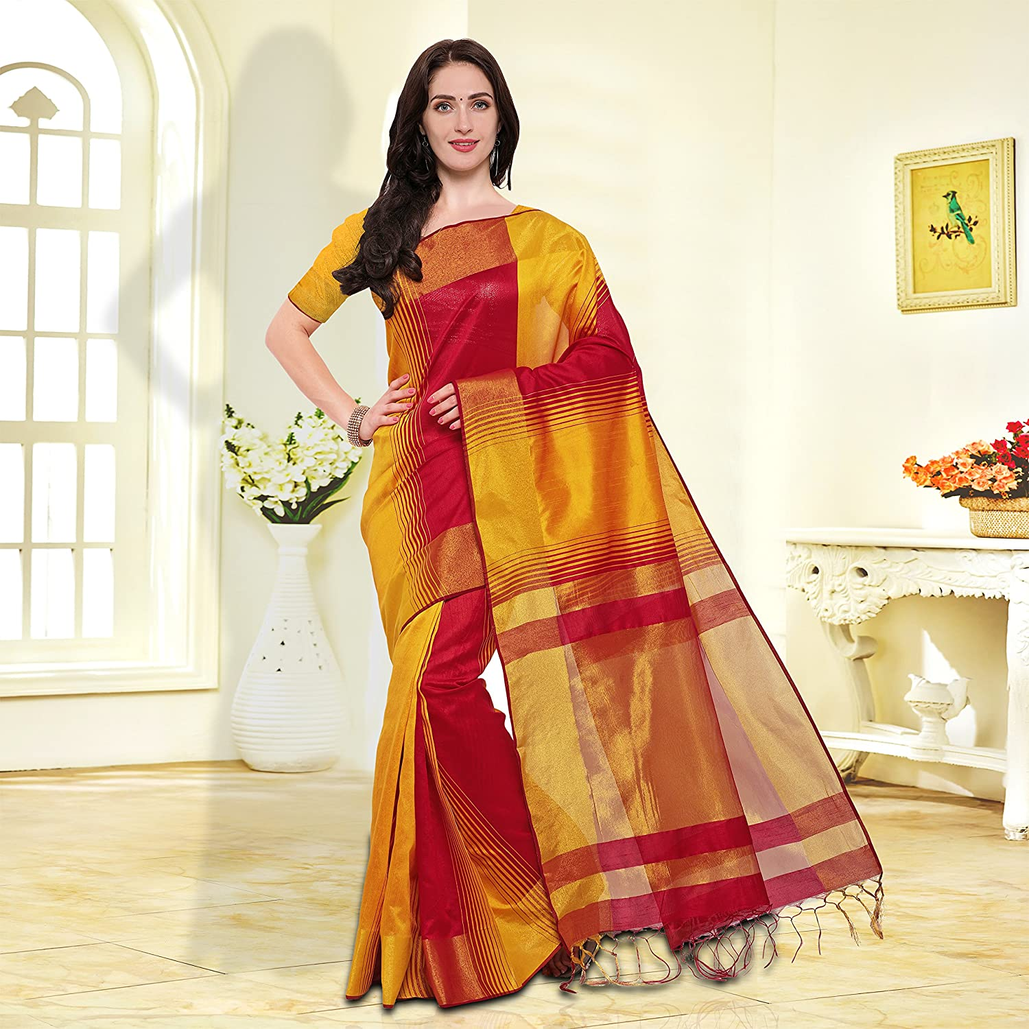 49942079bb185 SAREE MALL Women S Cotton Silk Saree With Blouse Piece (Yellow   Red Free  Size )  Amazon.in  Clothing   Accessories