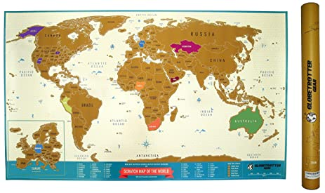 Amazoncom Scratch Off World Map Travel Tracker Europe Close - Usa world map