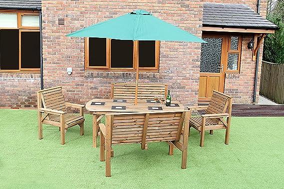 Staffordshire- Conjunto de muebles de madera para jardín y terraza, mesa de 1, 8 metros, 2 bancos y 2 sillas: Amazon.es: Jardín
