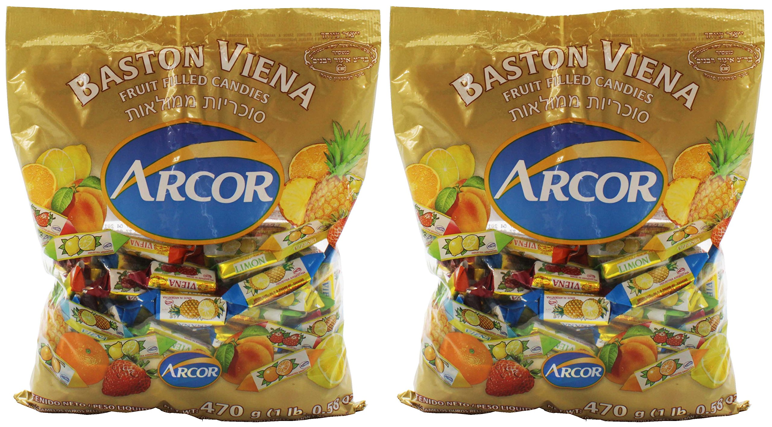 Arcor Vienna Fruit Filled Kosher Candy, 2 pack - 470 gms each