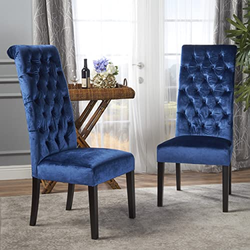Christopher Knight Home Leorah Dining Chair Set, Navy Blue Dark Brown