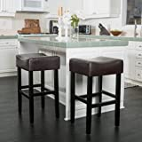 (Set of 2) Adler Brown Leather Backless Bar Stool