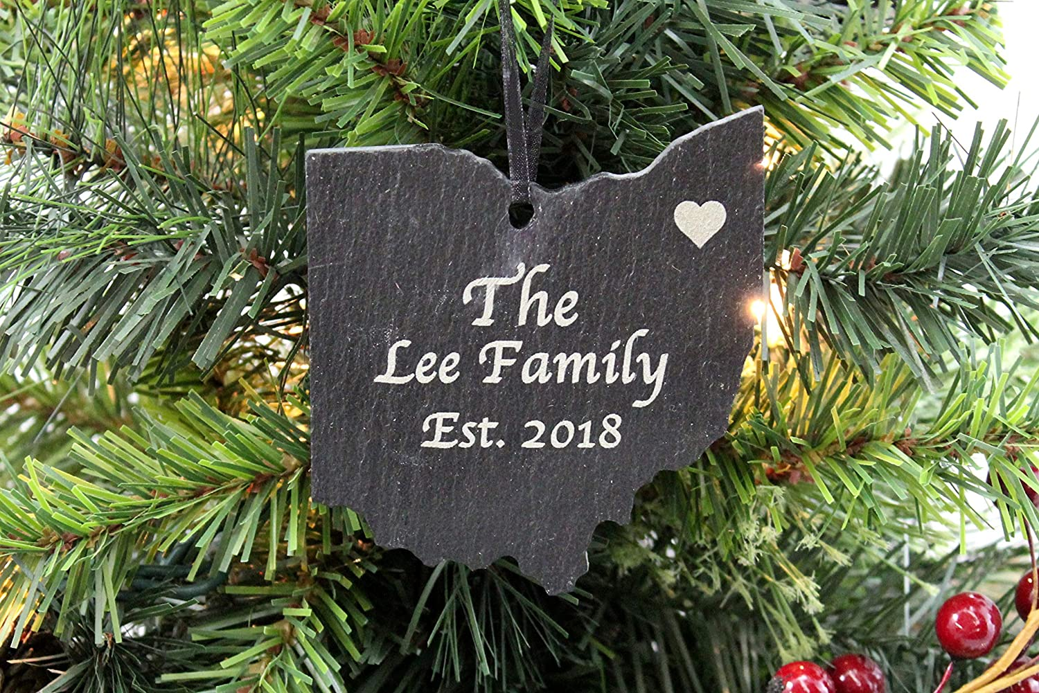 Christmas Ornaments Personalized.Custom Ohio Slate Christmas Ornament Personalized With Laser Engraving