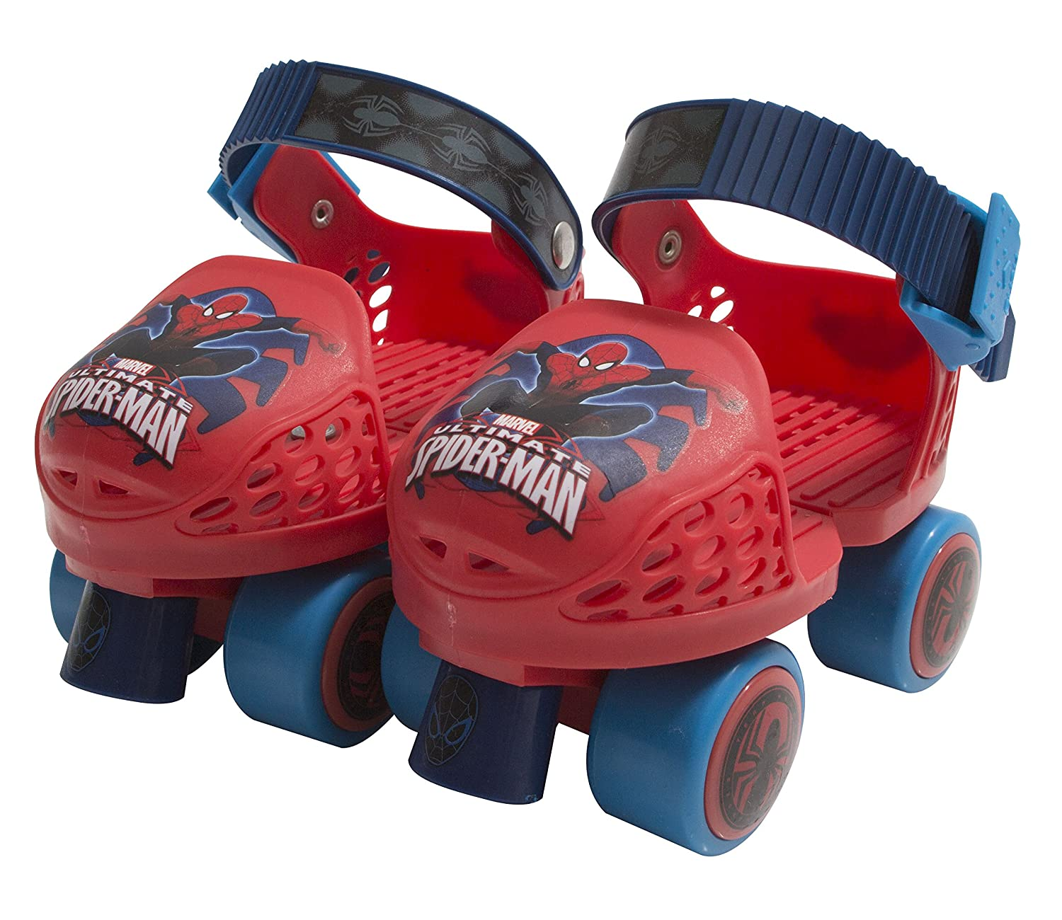 Amazon.com: PlayWheels Spider-Man Roller Skates with Knee Pads and Helmet, Junior Size 6-12: Toys & Games