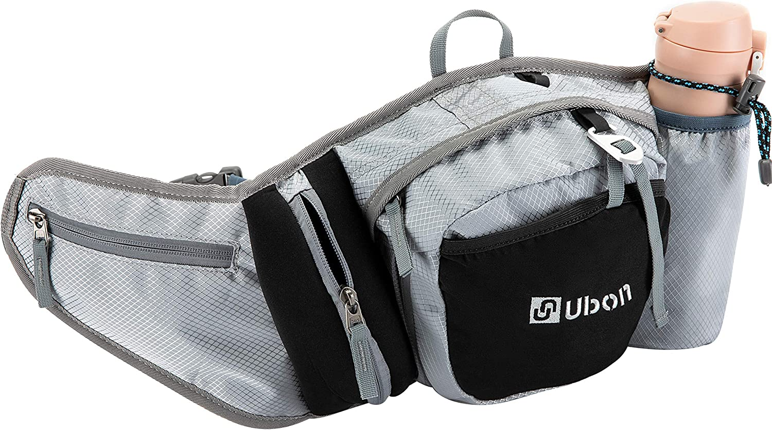 Ubon Large Fanny Pack 3L Waist Pack with Adjustable Belt for Hiking Running Walking Silver Gray