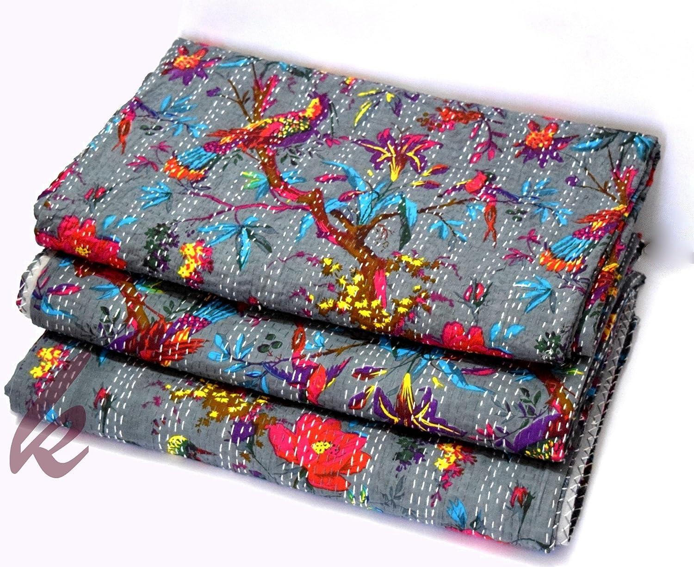 grey Bird Print King Size Kantha Quilt, Kantha Blanket, Bed Cover, King Kantha bedspread, Bohemian Bedding Kantha Size 90 Inch x 108 Inch Indian Kantha Quilt, Bird of Paradise Kantha, Kantha Rallies,
