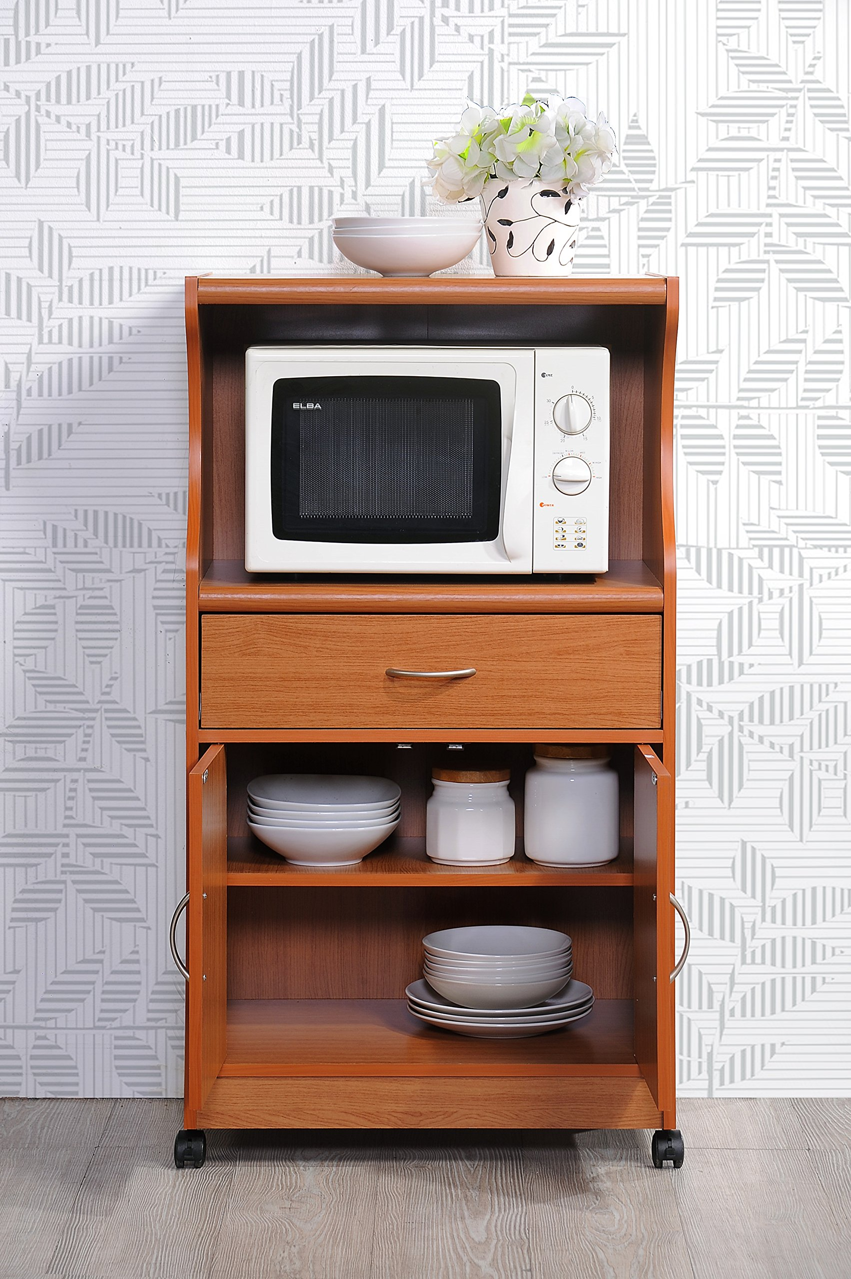 Hodedah Microwave Cart with One Drawer, Two Doors, and Shelf for Storage, Cherry by HODEDAH IMPORT (Image #4)