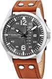 Stuhrling Original Mens Analog Stainless Steel Sport Aviator Watch, Quick-Set Day-Date, Casual Leather Strap