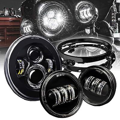 "7"" CREE LED Harley Headlight + 4.5"" Passing Lights for Harley Davidson + Mounting Bracket [Black-Finish] Head Light for Harley Davidson Electra Glide Road King Heritage Softail: Automotive"