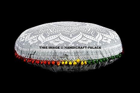 Amazon.com: Gran Ronda de plata Ombre Mandala Floor cojines ...