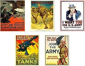 Insire WW2 Poster Prints | Set of Five 8x10 World War 2 Propaganda Prints | Vintage Wall Art | Recruitment Posters | Set 2