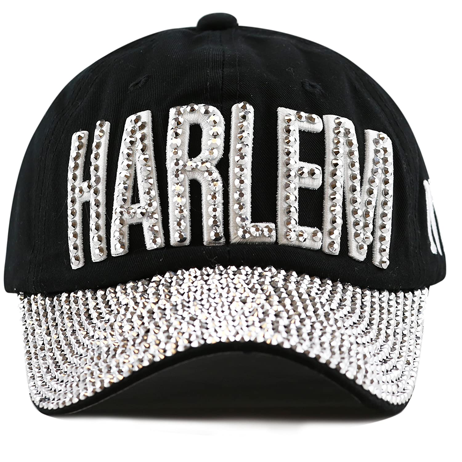 THE HAT DEPOT 200H4320 Bling Studded Rhinestone Harlem Adjustable Baseball  Cap-4colors (Black-Harlem) at Amazon Women s Clothing store  90b32b3f94e