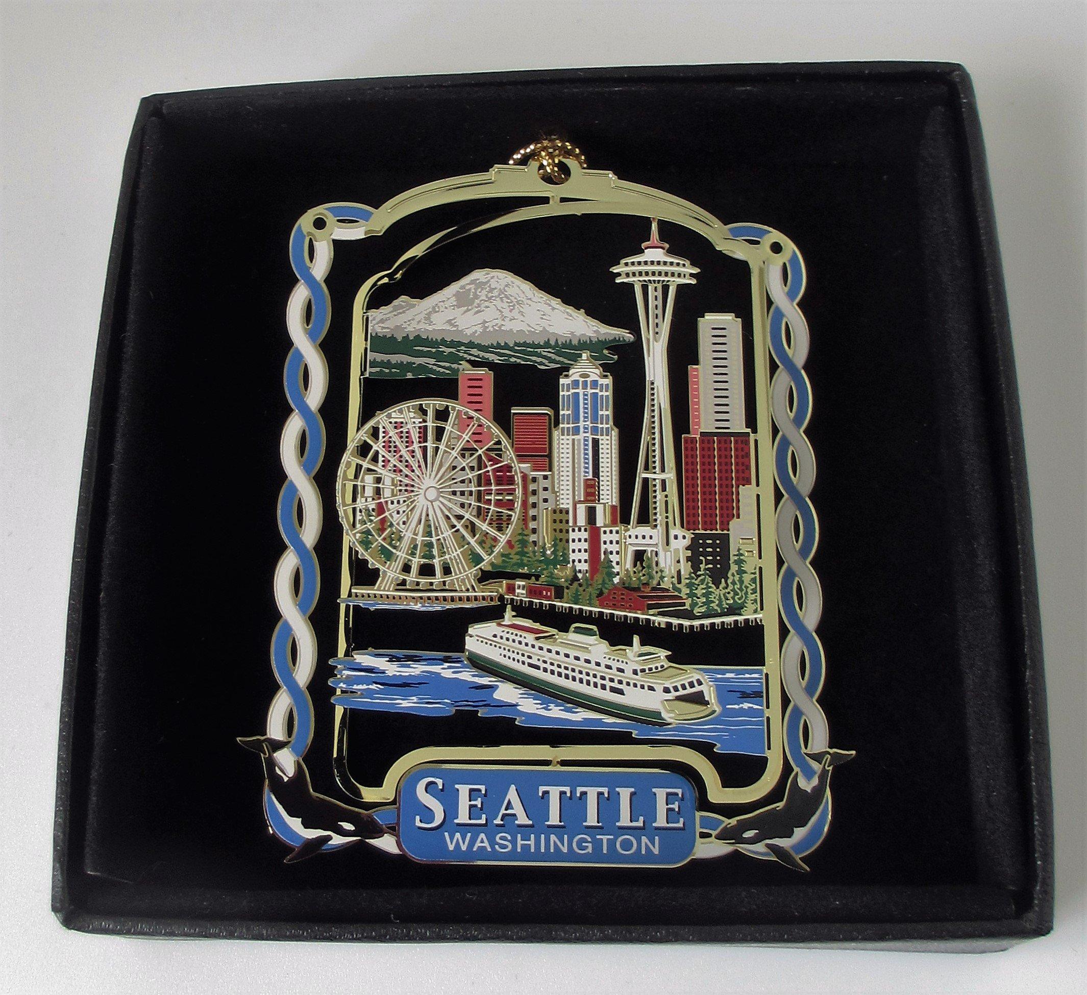 I Love My State Seattle Ornament Color Brass Souvenir Black Leatherette Gift Box