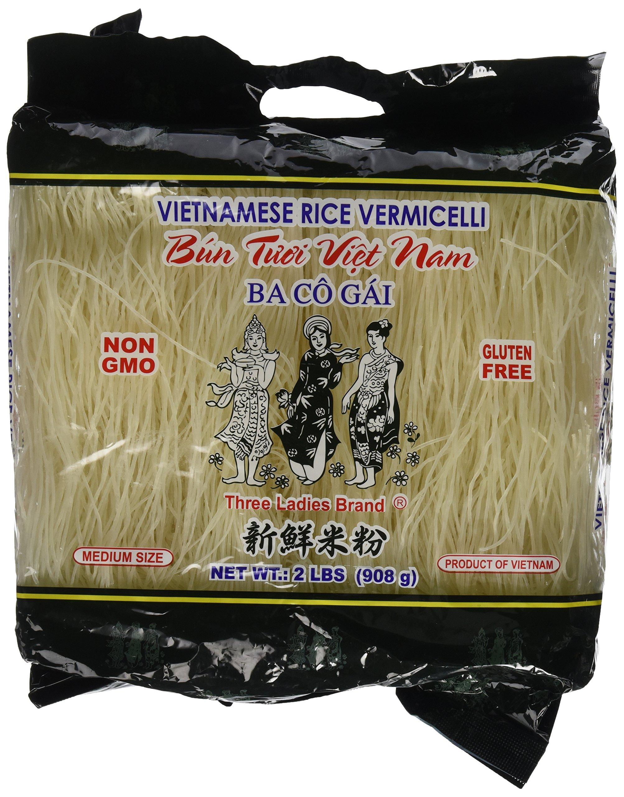 Three Ladies Brand Vietnamese Rice Vermicelli, 2lbs (Pack of 2)