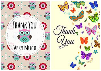 pack of 24 assorted thank you cards envelopes owls and