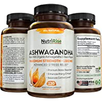 Ashwagandha 1300mg Made with Organic Ashwagandha Root Powder & Black Pepper Extract - 120 Capsules. 100% Pure…