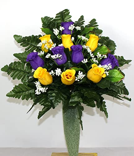 Amazon gorgeous yellow and purple roses cemetery arrangement gorgeous yellow and purple roses cemetery arrangement for mausoleum mightylinksfo