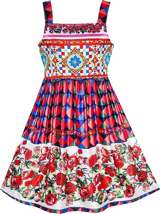 Girls Dress Turn-Down Collar Flower Chiffon Party Red Age 7-14 Years UK STOCK !