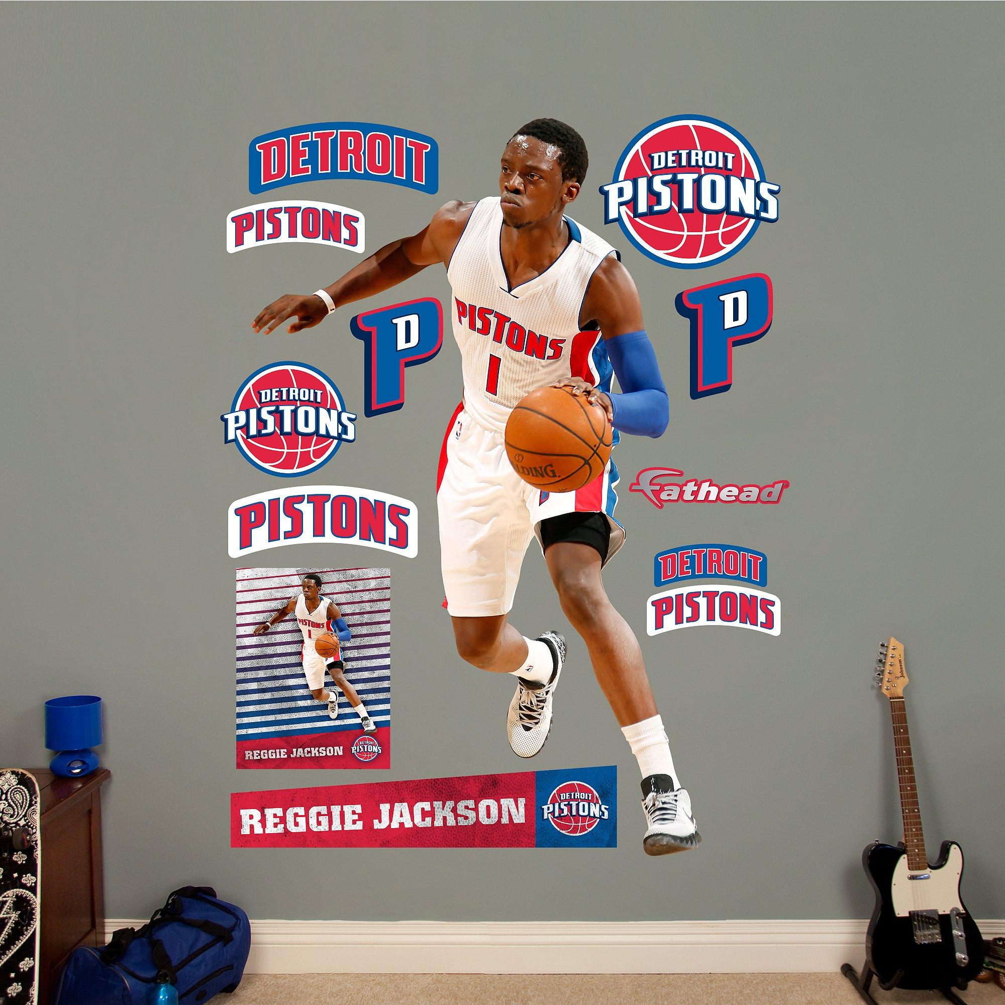 NBA Detroit Pistons Reggie Jackson Fathead Real Big Decals, 57''W x 74''H