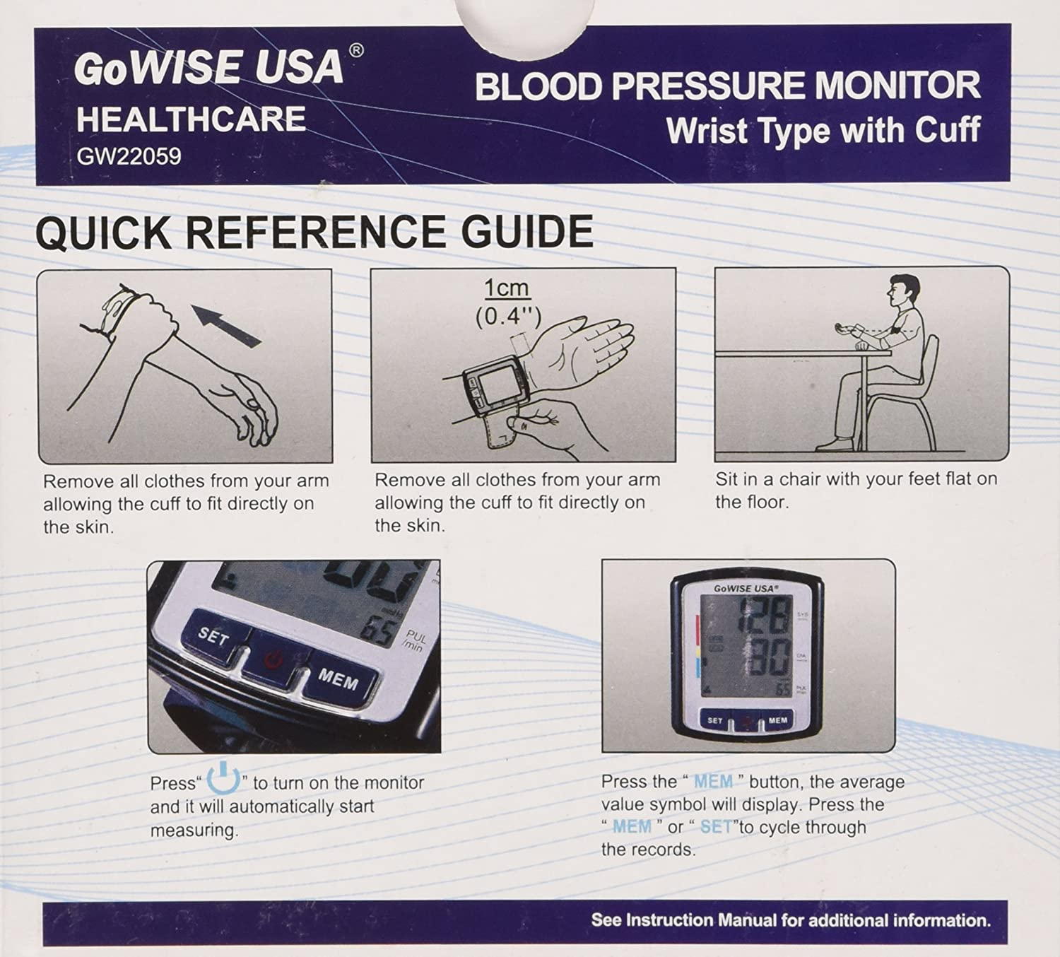 Amazon.com: GoWISE USA GW22059 Portable Digital Automatic Blood Pressure Monitor for 2 Users x 90 Memory Recall w/Intelligent Positioning Guide w/Voice or ...