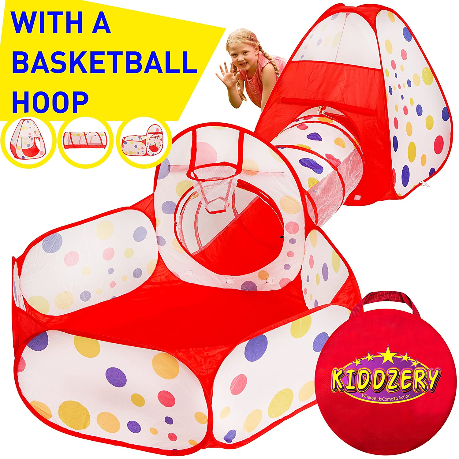 kiddzery 3pc Kids Play Tent Crawl Tunnel and Ball Pit with Basketball Hoop  – Durable Pop Up Playhouse Tent for Boys, Girls, Babies, Toddlers & Pets –