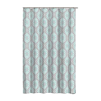 Apex Bath Turquoise Gray Fabric Shower Curtain Floral Medallion