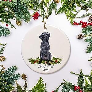 Yilooom Round Ceramic Keepsake for Christmas Tree Decor, Black Lab Christmas Ornament, Personalized Dog Ornament, Black Labrador for Dog Lovers Pet's First Christmas Family Dog