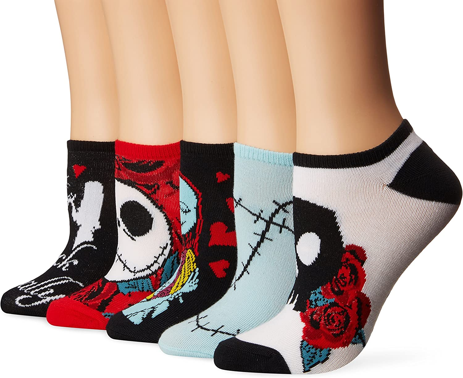 Disney Womens Nightmare Before Christmas 5 Pack No Show Socks