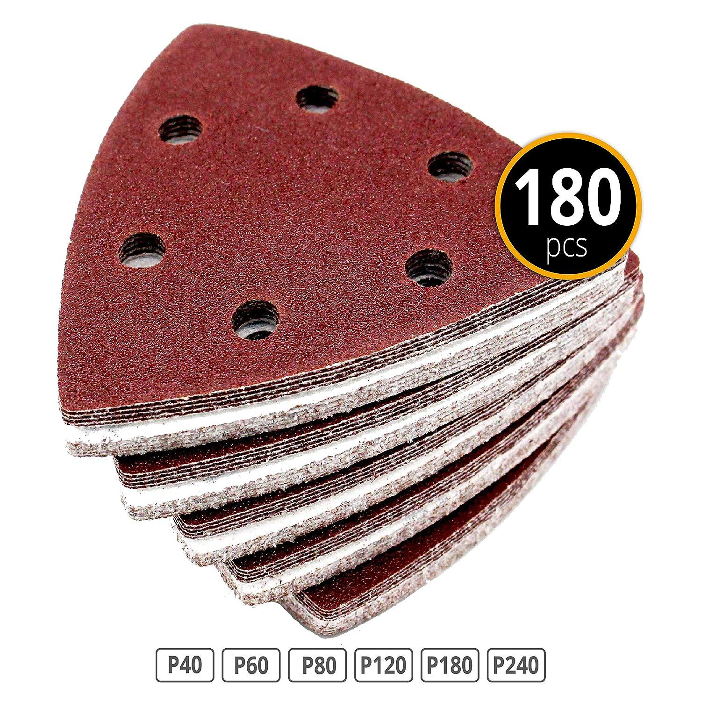 Lot de 180 patins abrasifs Coin 93 x 93 x 93 mm Grain 30 x 40/60/80/120/180/240 pour ponceuse Delta 6 trous FD-Workstuff