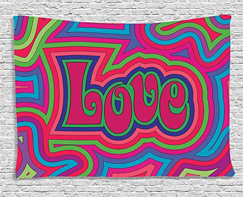 Ambesonne Groovy Tapestry, Groovy Psychedelic Love with Offset Swirls Cheerful Colors Festival Joyful Art, Wide Wall Hanging for Bedroom Living Room Dorm, 60 X 40 , Pink