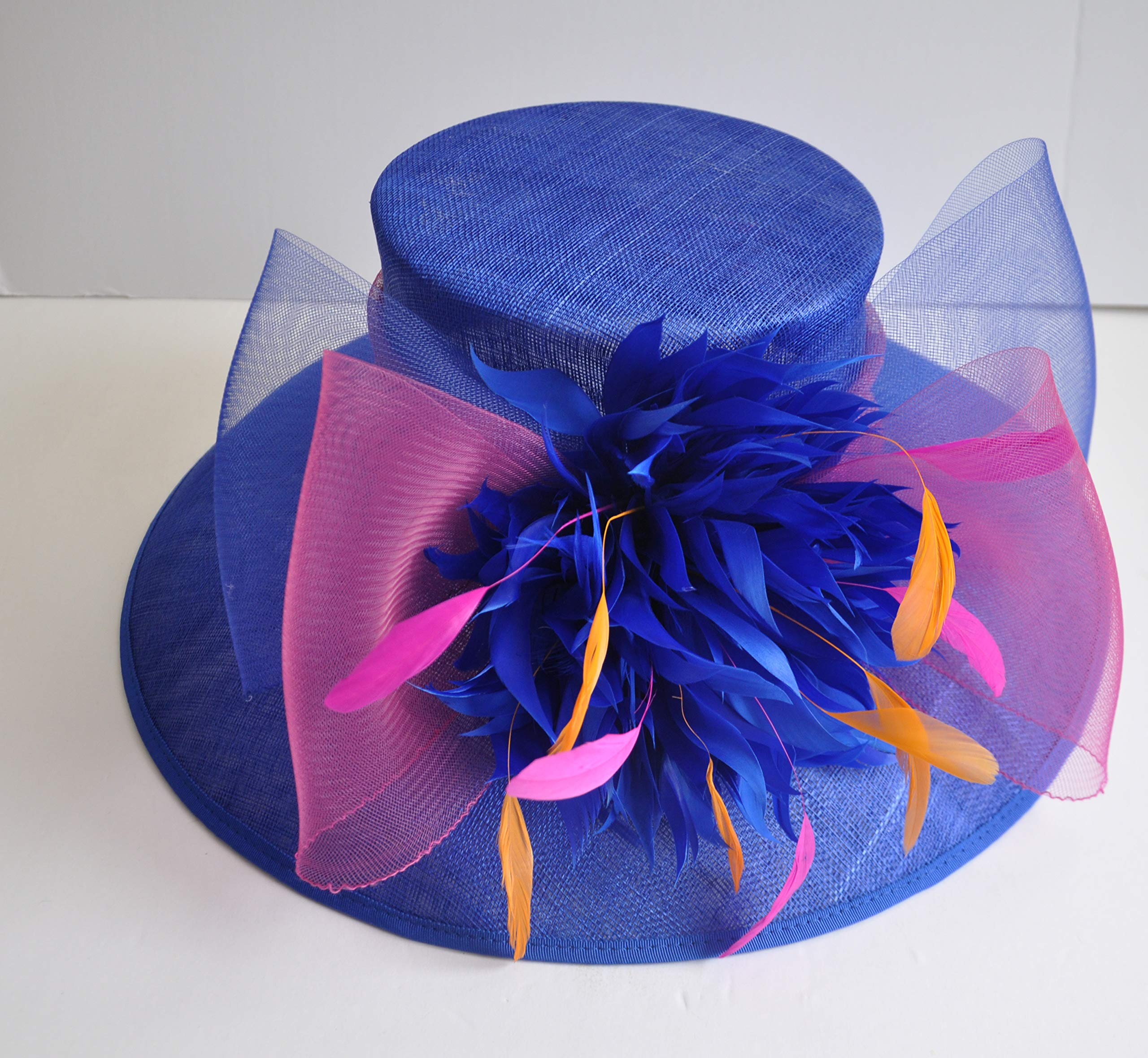 Wide Brim Kentucky Derby Sinamay hat with Feather Flowers Royal Blue with hot Pink and Orange by ray&daniel (Image #5)