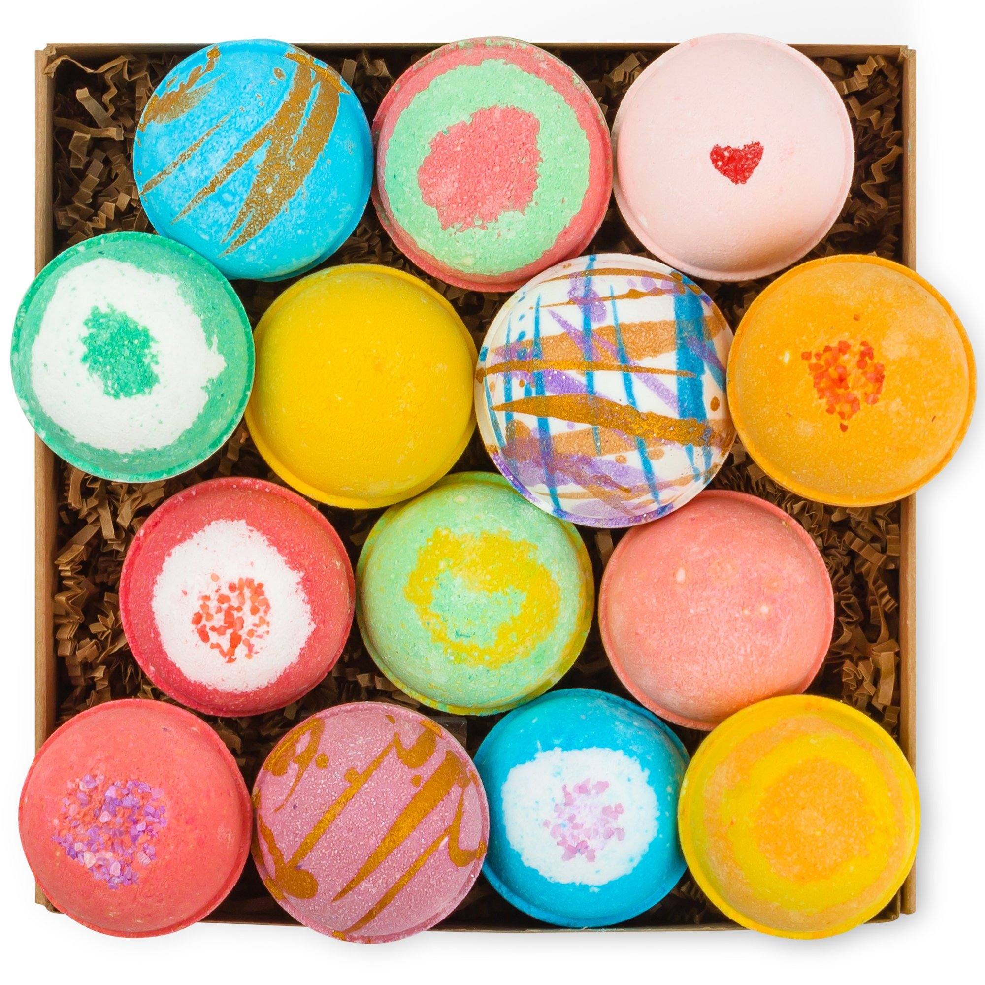 HanZá Bath Bombs - Gift Set Ideas - Gifts For Women, Mom, Girls, Teens, Her - Ultra Lush Spa Fizzies - Gift Ideas - Add to Bath Bubbles, Bath Beads, Bath Pearls & Flakes (14, Multicolored)