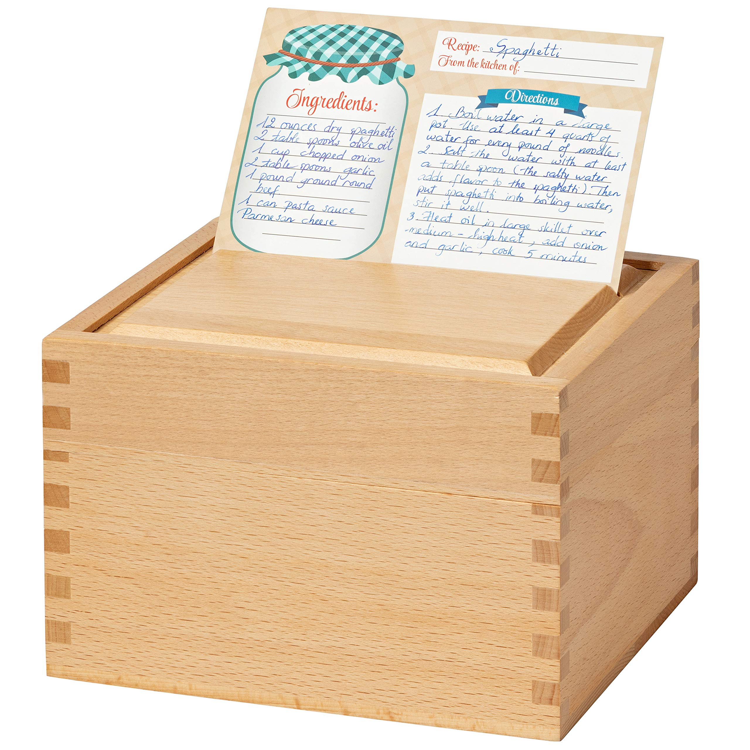 Recipe Box Card Set with 8 4x6 Recipe Cards, Beechwood and Card Holder, Cards Made with Thick Card Stock. Perfect Recipe Organizer. (Beechwood) by RAKYTO (Image #3)