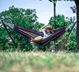 """BACKYARD EXPRESSIONS PATIO · HOME · GARDEN 914922 Two Person Hammock with Stand + Relaxing Audio Track and Luxury Carrying Case, 106"""" L x 47"""" W x 43"""" H, Caribbean Rainbow"""